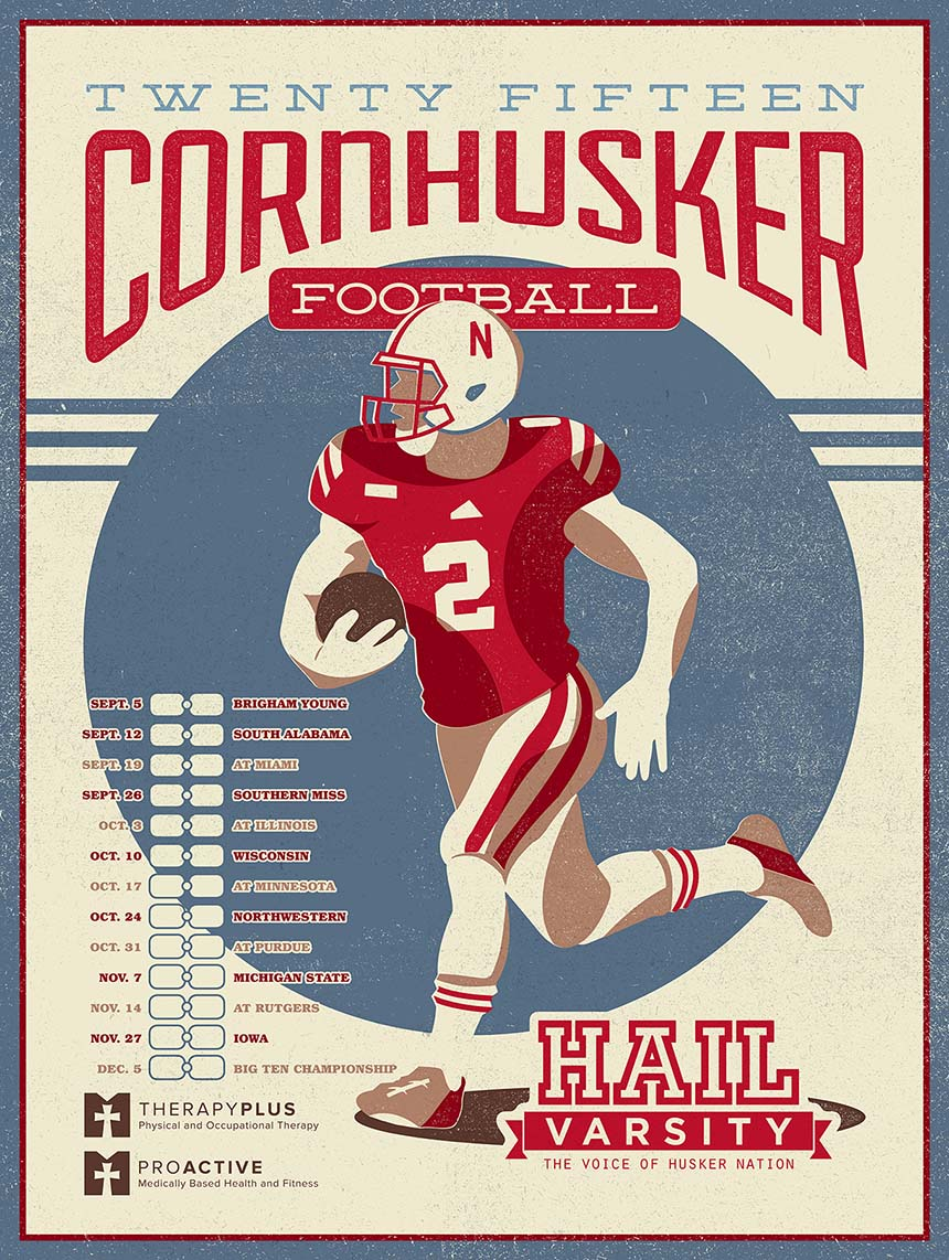 Nebraksa Cornhusker football poster