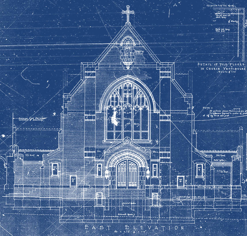 Our lady of Lourdes blueprints