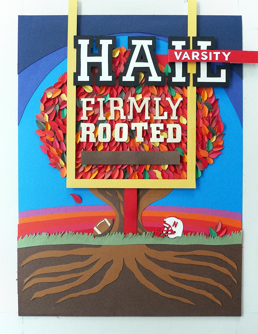 Hail Varsity cover cut paper illustration
